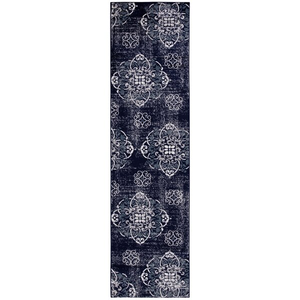 Lewinsbrook Floral Medallion Design Navy/Ivory Area Rug by Rosdorf Park