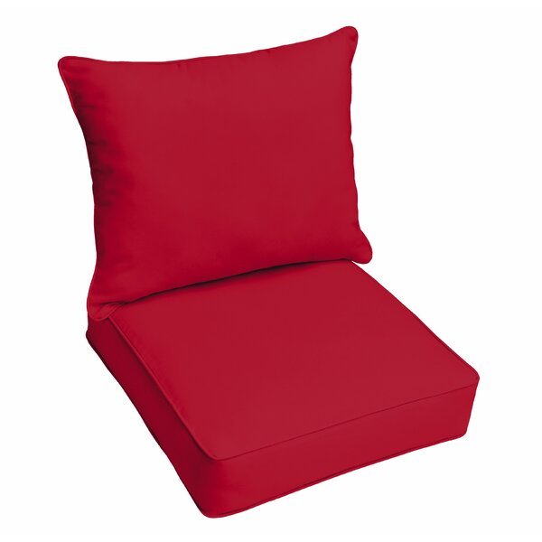 Crimson Piped 2 Piece Indoor/Outdoor Lounge Chair Cushion by Red Barrel Studio