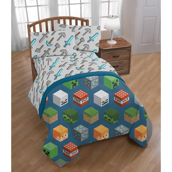 Minecraft Isometric Reversible Comforter Set (Set of 4) by Fingerlings