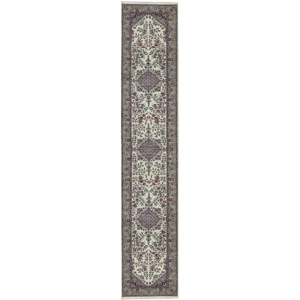 Runner Oriental Hand-Knotted Wool Ivory/Light Green Area Rug