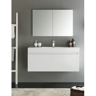 Senza 48 Mezzo Single Wall Mounted Modern Bathroom Vanity Set with Mirror ByFresca