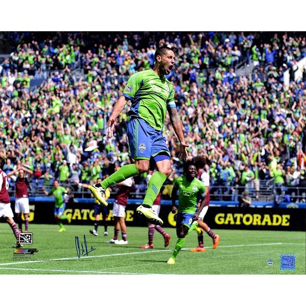 Clint Dempsey Signed MLS Seattle Sounders Celebration Photographic Print by Steiner Sports