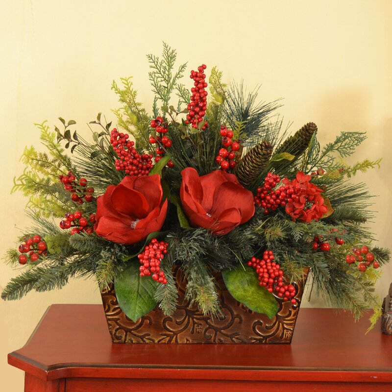 Floral Home Decor Magnolia and Berry Christmas Centerpiece & Reviews ...