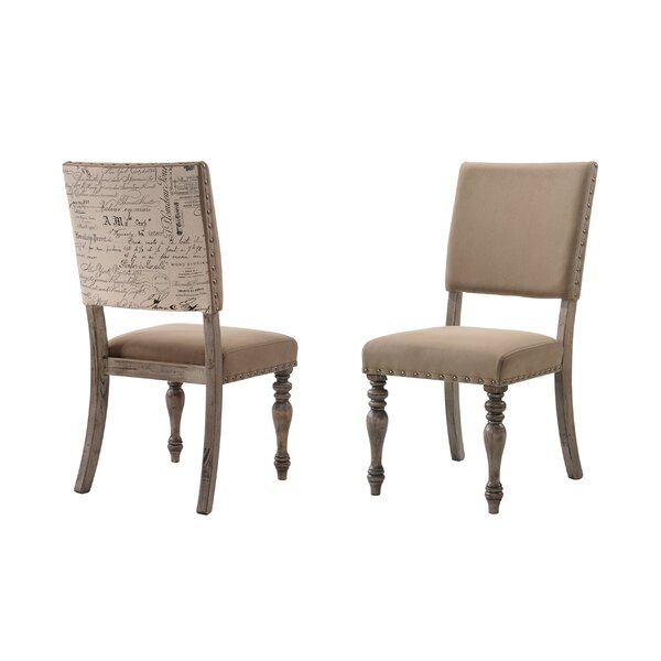 Dasher Nail Head Trim Script Printed Upholstered Dining Chair (Set Of 2) By One Allium Way