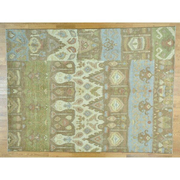 One-of-a-Kind Cheer Ikat Uzbek Hand-Knotted Wool Area Rug by Isabelline