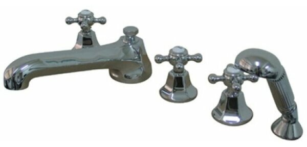 Roman Triple Handle Deck Mounted Roman Tub Faucet with Diverter and Handshower by Kingston Brass Kingston Brass