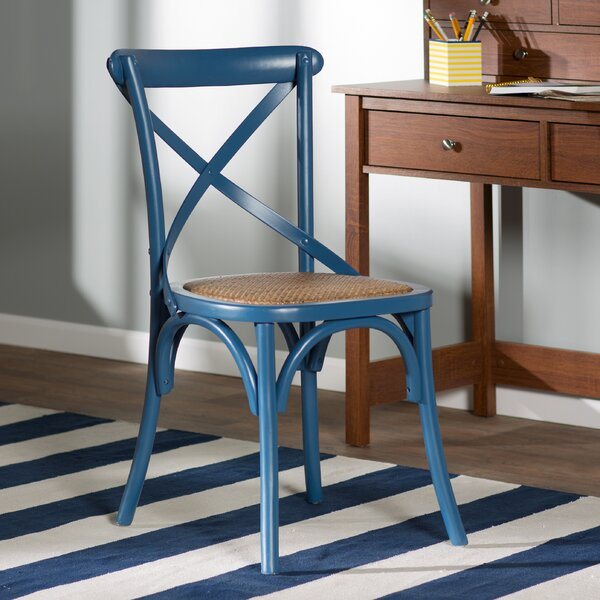 Benicia Cross Back Side Chair in Blue by Beachcrest Home Beachcrest Home