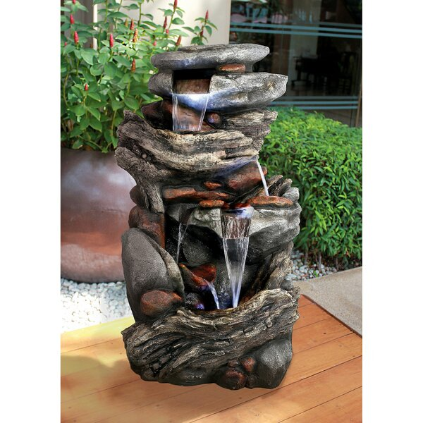 Cathedral Rocks Cascading Waterfall Garden Fountain with Light by Design Toscano