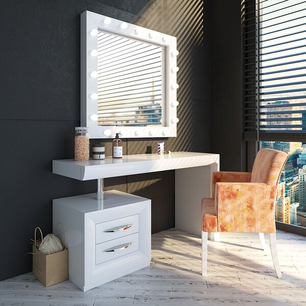 Mabton Vanity Set with Stool and Mirror