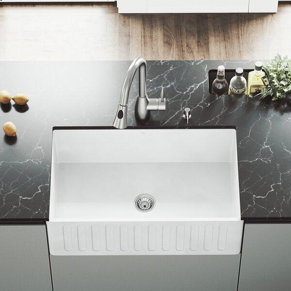 VIGO Matte Stone 30 L x 18 W Farmhouse Kitchen Sink with Faucet by VIGO