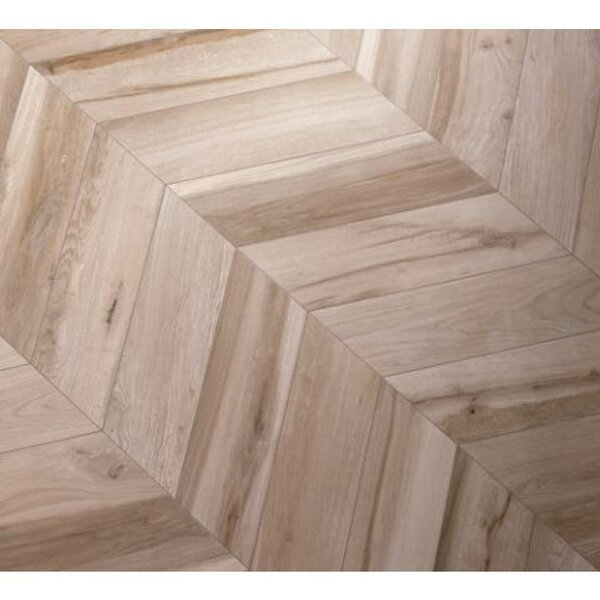 Solorez Chevron 8 x 32 Porcelain Wood Look Tile in Avana by Splashback Tile