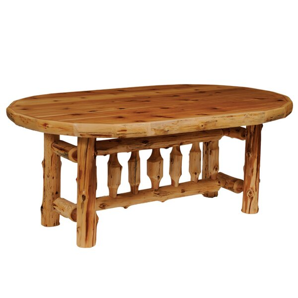 Traditional Cedar Log Oval Dining Table by Fireside Lodge