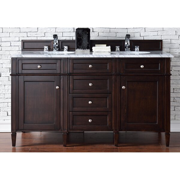 Deleon 60 Double Burnished Mahogany Marble Top Bathroom Vanity Set by Darby Home Co