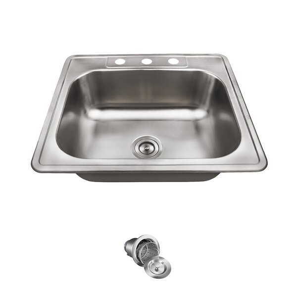 Stainless Steel 25 x 22 Drop-In Kitchen Sink With Additional Accessories