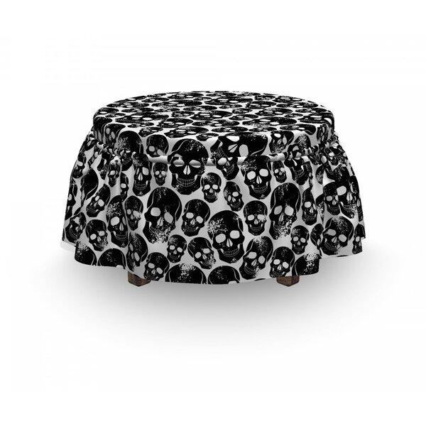 Gothic Grunge Skulls 2 Piece Box Cushion Ottoman Slipcover Set By East Urban Home