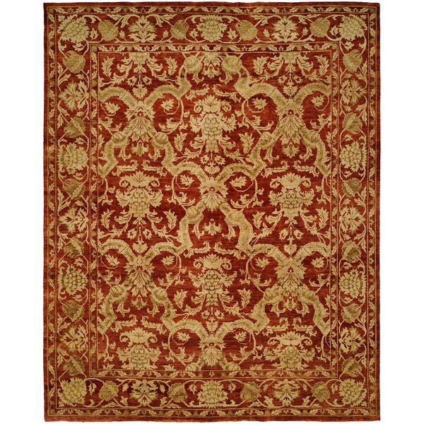 Hand-Knotted Red/Gold Area Rug by Wildon Home ®