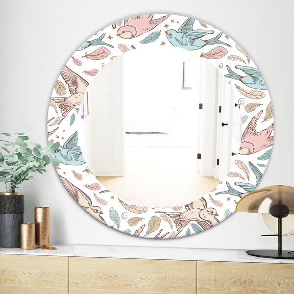 Swallow Birds and Flowers Traditional Wall Mirror