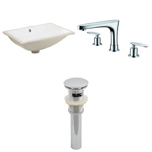 Clearance CUPC Ceramic Rectangular Undermount Bathroom Sink with Faucet and Overflow By Royal Purple Bath Kitchen