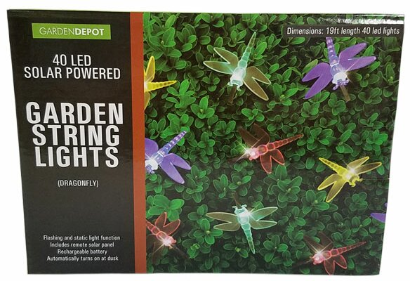 Solar Powered Dragonfly 40 Light Novelty String Lights by Penn Distributing