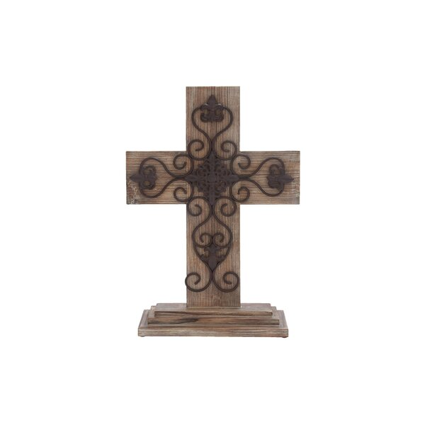 Wood Metal Table Cross Sculpture by Cole & Grey
