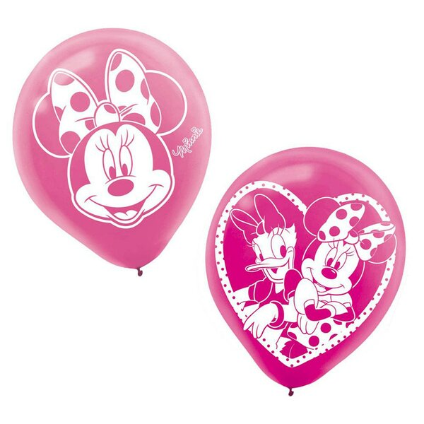 12 Piece Minnie Mouse Latex Disposable Balloons Set [NA]