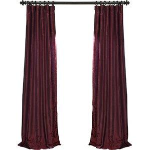 Marvelous Sagunto Vintage Textured Faux Dupioni Silk Rod Pocket Single Curtain Panel