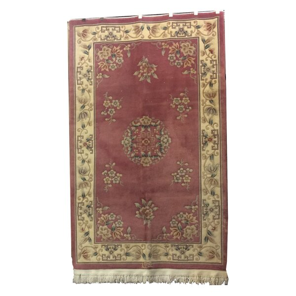 One-of-a-Kind Drumroan Hand-Knotted Wool Pink/Beige Area Rug by Canora Grey