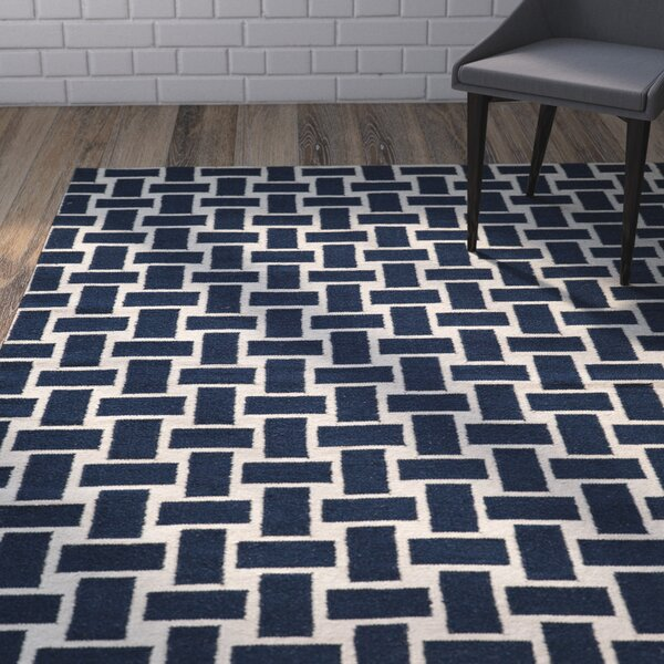 Hagler Hand-Woven Navy Area Rug by Wrought Studio