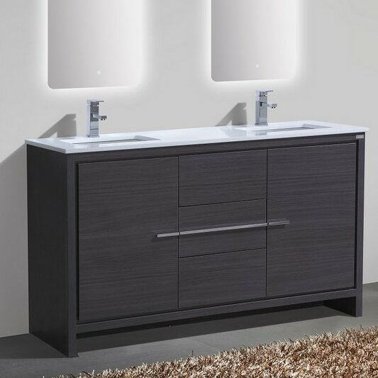 Bosley 60 Double Sink Modern Bathroom Vanity by Mercury Row