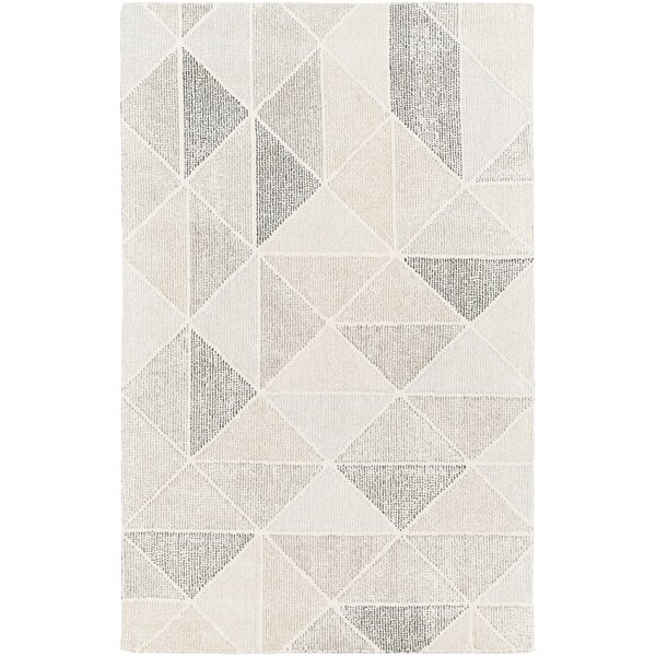 Madero Geometric Handwoven Wool Ivory Area Rug by Langley Street