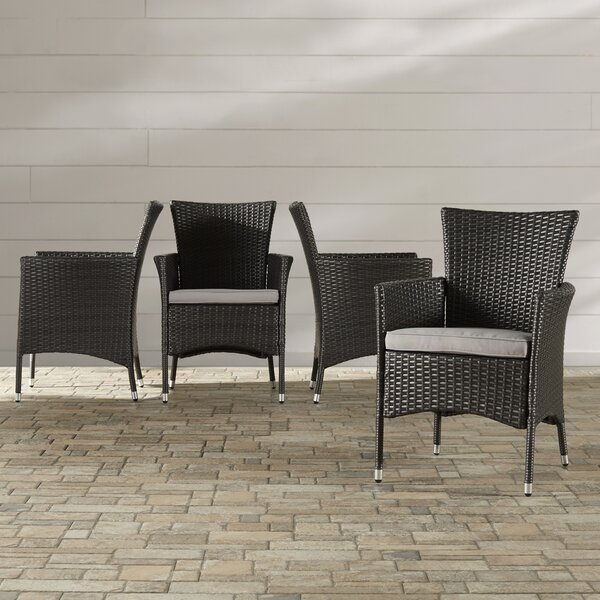 Mcnealy Patio Dining Chair with Cushion (Set of 2) by Brayden Studio