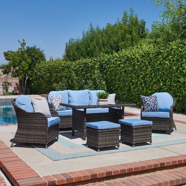 Cheshire 6 Piece Rattan Sofa Seating Group with Cushions by Sol 72 Outdoor