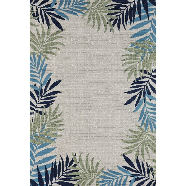 Springcreek Beautiful Tropical Palm Leaves Green/Blue Indoor/Outdoor Area Rug by Bay Isle Home