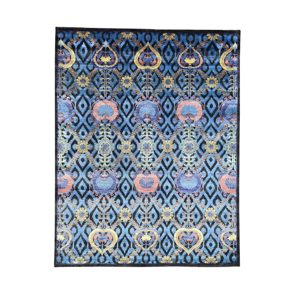 One-of-a-Kind Pecor Modern Arts and Crafts Hand-Knotted Silk Blue Area Rug by World Menagerie