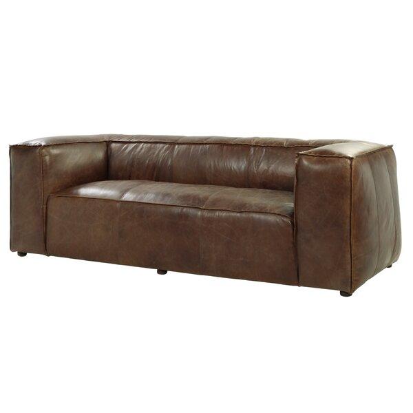 Georgie Genuine Leather 98 Tuxedo Arms Sofa