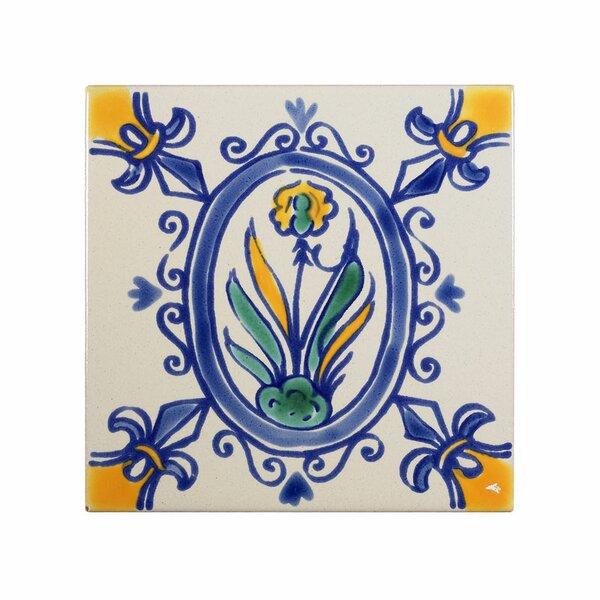 Mediterranean 4 x 4 Ceramic Iris Decorative Tile in Blue/Gray by Casablanca Market