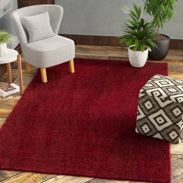 Damien Dark Red Area Rug by Mercury Row