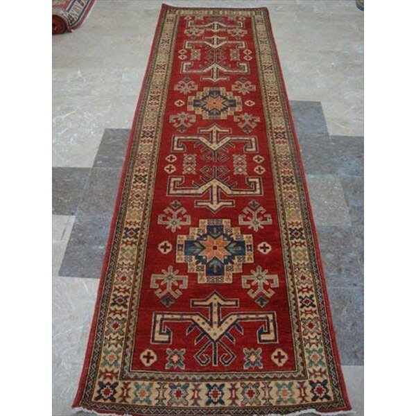Runner Kazak Oriental Hand-Knotted Red Area Rug