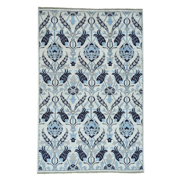One-of-a-Kind Ebron Peshawar Arts and Crafts Oriental Hand-Knotted Ivory Area Rug by World Menagerie