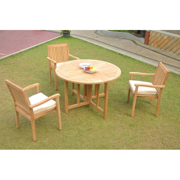 Nueva 4 Piece Teak Dining Set by Rosecliff Heights