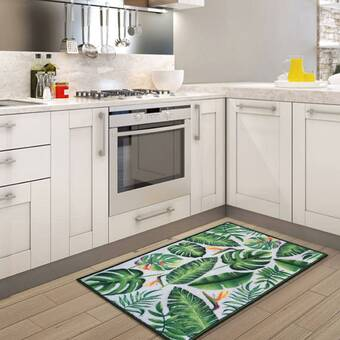 Bay Isle Home Bryana Green Leaves Floor Kitchen Mat Reviews