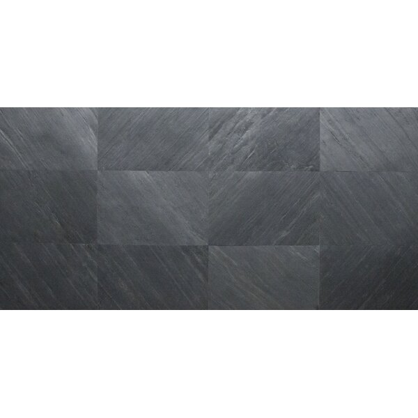 Thin Flexible 16 x 24 Natural Stone Field Tile in Charcoal Shadow by Stone Design