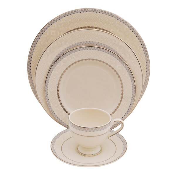 Wik 5 Piece Ivory China Place Setting, Service for 1 (Set of 4) by Shinepukur Ceramics USA, Inc.