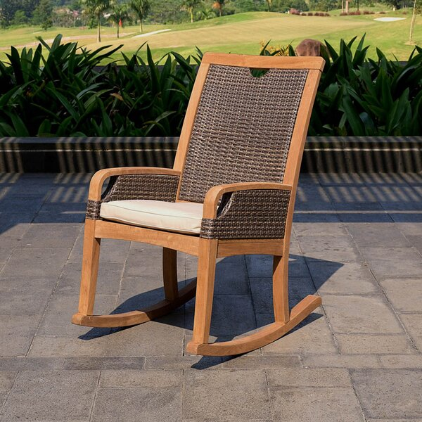Mansfield Wicker and Teak Rocking Chair with Cushions by Bayou Breeze