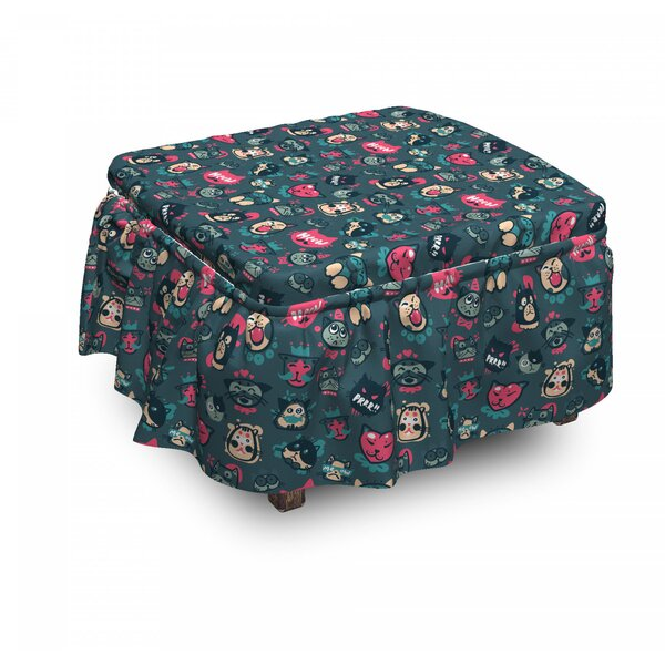 Funny Kitty Characters Ottoman Slipcover (Set Of 2) By East Urban Home