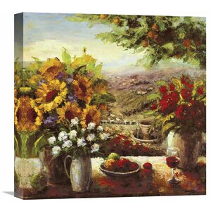 'Sunflowers With Fruit And Wine I' by Hong Painting Print on Wrapped Canvas by Global Gallery