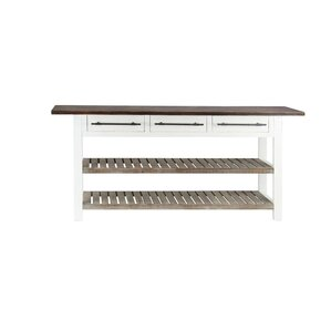 Eatontown Traditional 3-Drawer Wooden Console Table with Slatted Shelves b..
