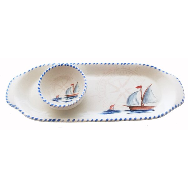 Sailboat Tray and Small Bowl Chip and Dip Platter by Abbiamo Tutto