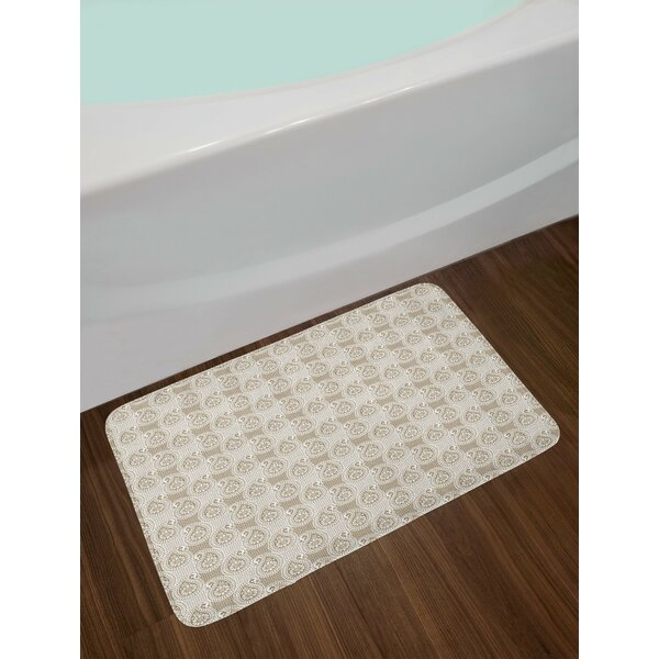 Squared White and Brown Paisley Bath Rug by East Urban Home