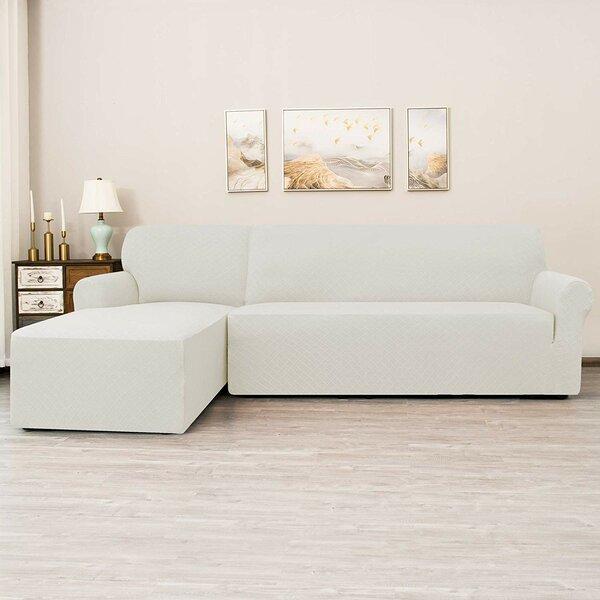 L-Shaped Rhombus Jacquard Box Cushion Sofa Slipcover By Ebern Designs